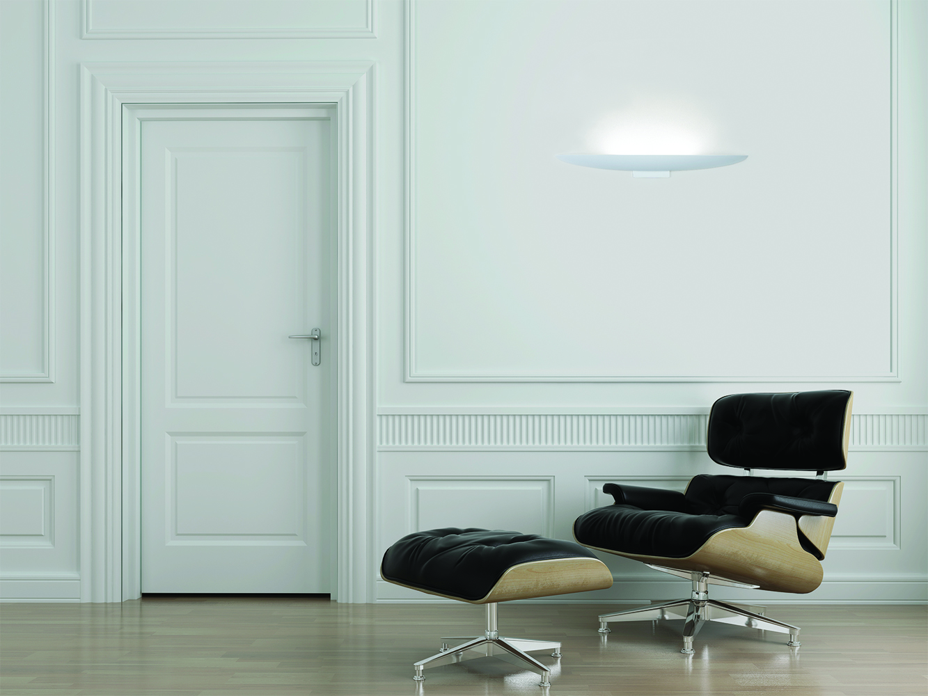 Escape wall sconce as an office lighting fixture, providing minimalism in a reception waiting area