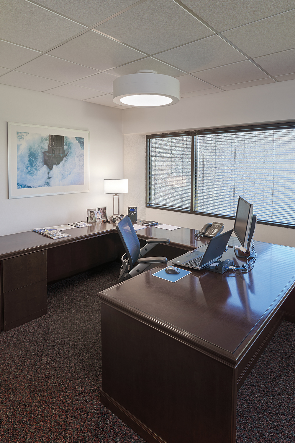 Omnience office lighting fixtures above a desk in a modern private office design.
