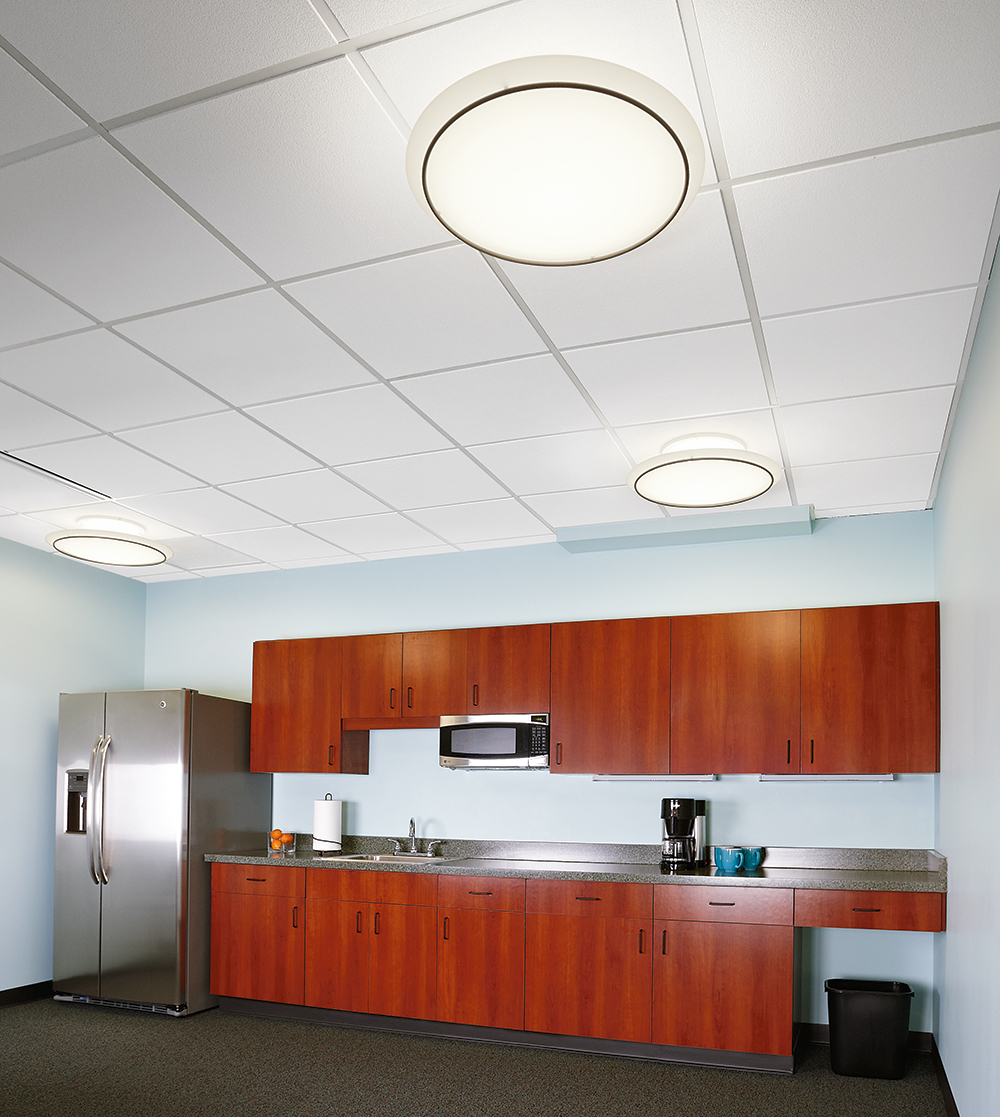 Ovation ceiling mounted elliptical luminaires in a modern office lighting a kitchen with red cabinets.