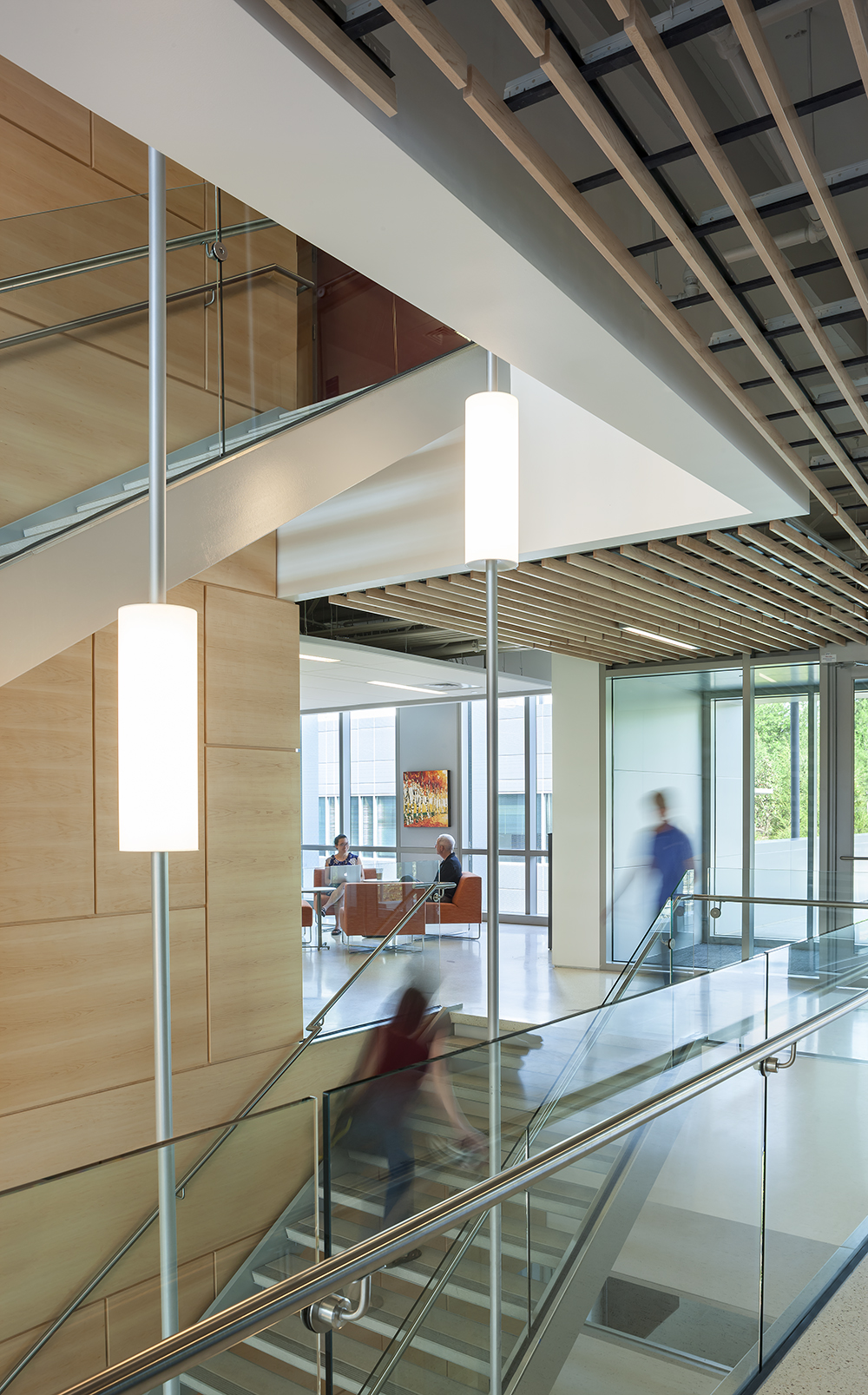 Sequence pendants enhance educational interior design in a tandem-mount configuration for a modern campus building stairwell.