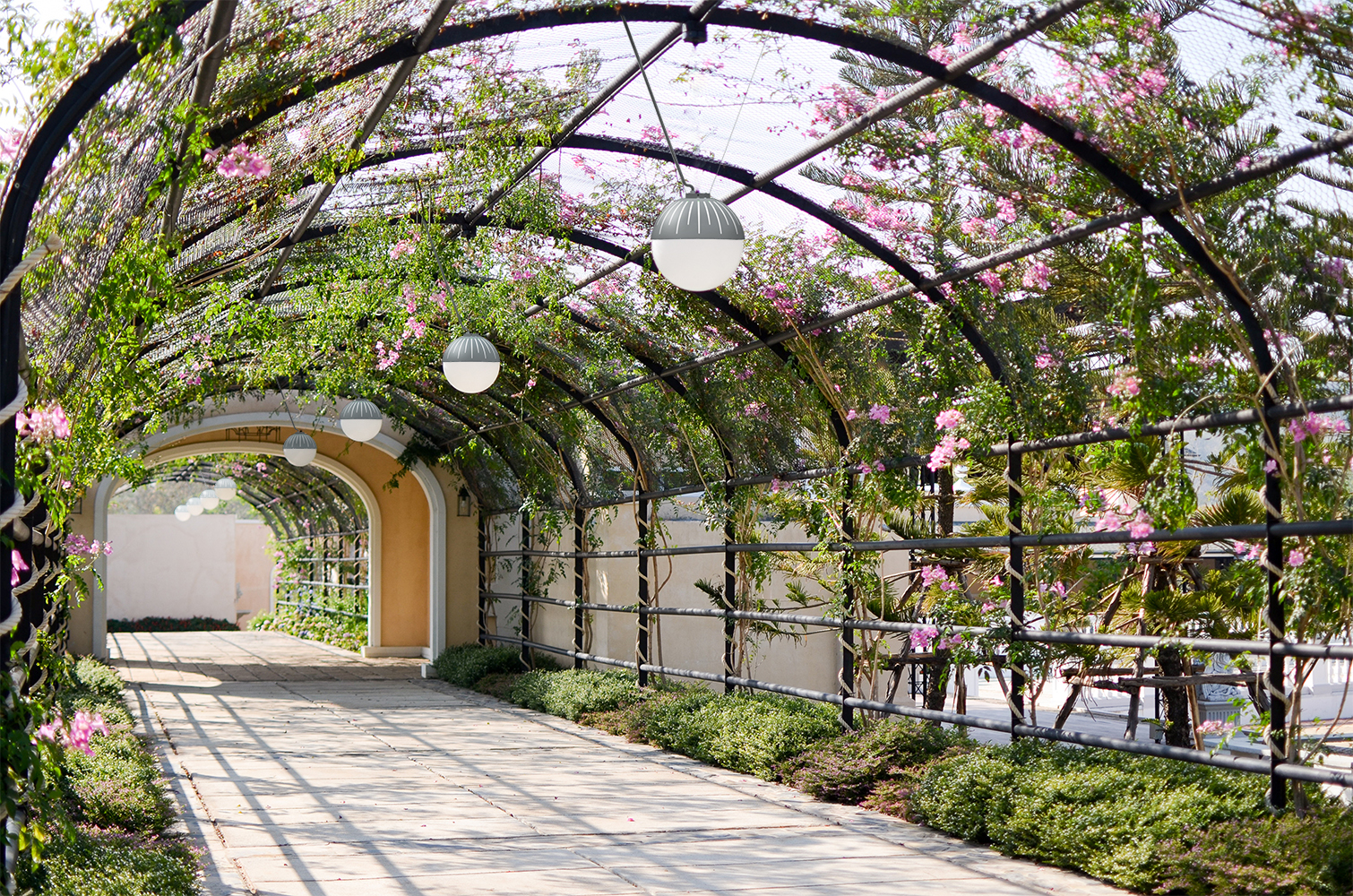 Zume outdoor light fixtures illuminate a vine-covered outdoor archway with purple flowers.