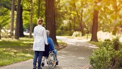 A doctor wheeling a patient through a relaxing healing garden