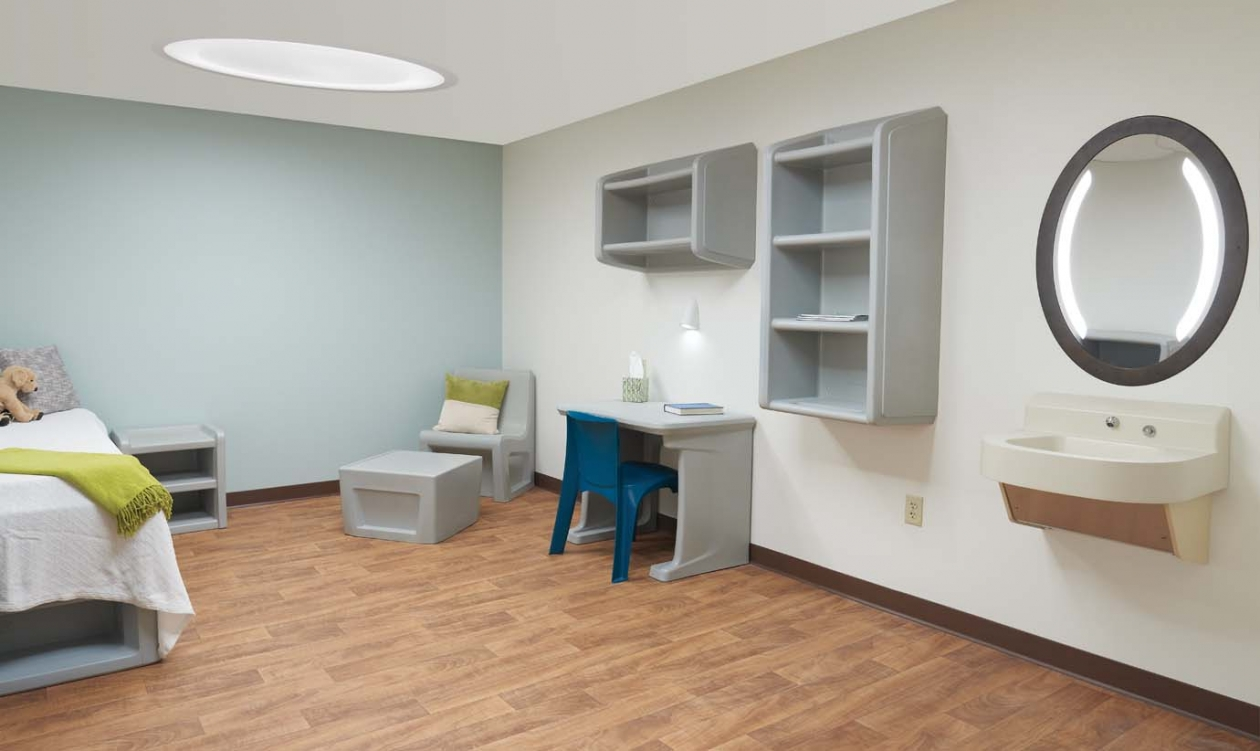 Behavioral healthcare ceiling recessed anti ligature lighting