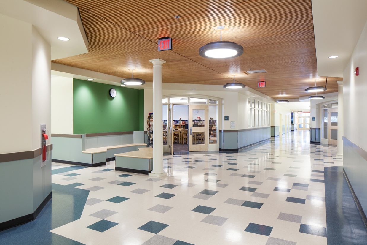 Broadway pendants are good for education lighting, mounted in a school hallway.