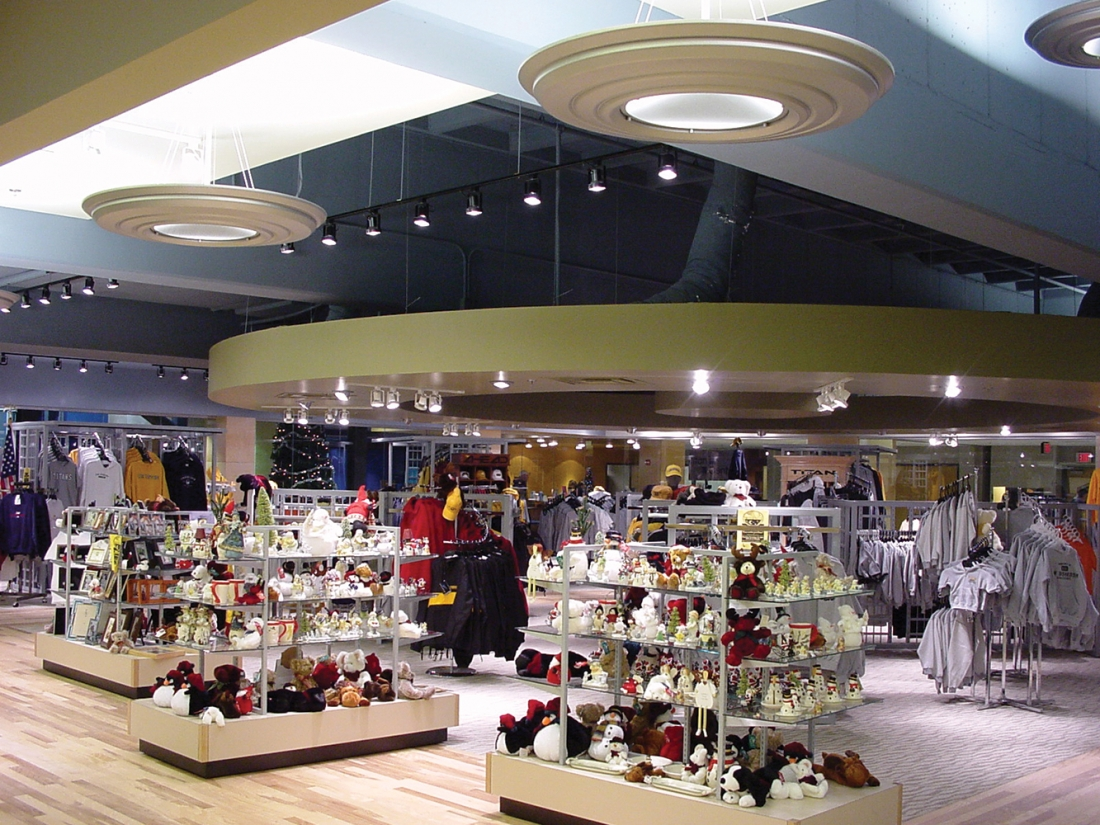 Gemini pendants in a retail lighting design above a store floor. These circular luminaires provide uplight and downlight
