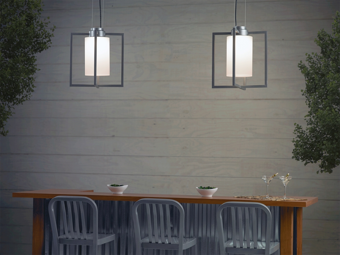 Laterna outdoor light fixtures mounted above an outdoor dining area.