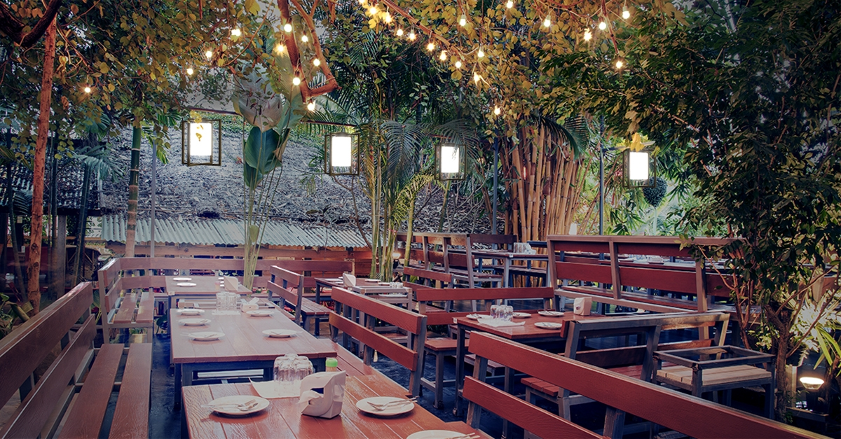 Laterna outdoor pendants above a restaurant lighting application, mounted on catenary cable among tree branches.