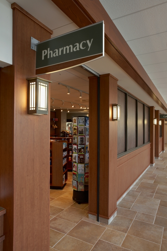 Midland Crafts sconces are perfect for this hospital lighting design, illuminating the hospital's pharmacy entrance.