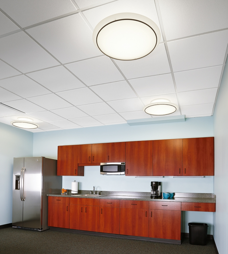 ... Ovation Ceiling Mounted Elliptical Luminaires In A Modern Office  Lighting A Kitchen With Red Cabinets.