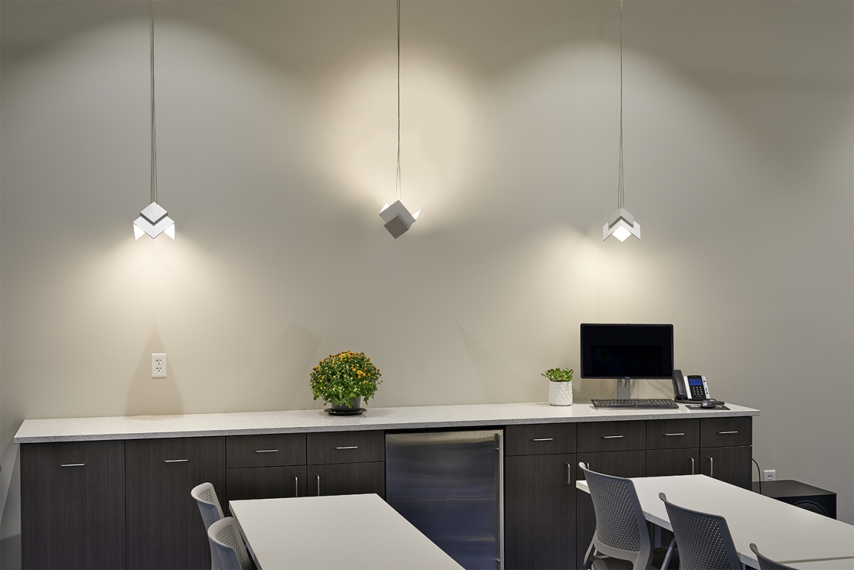 Petal OLED pendants are in an office lighting application along a meeting room wall.