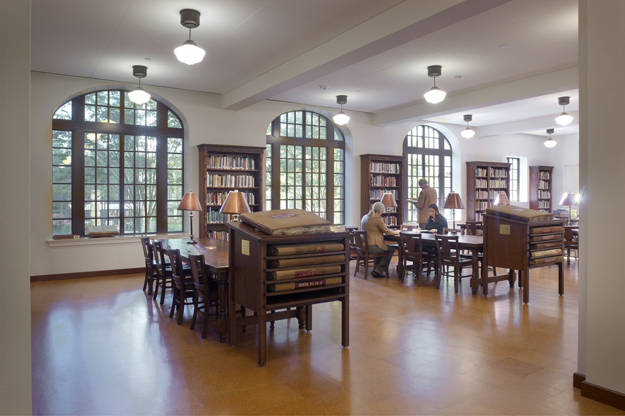 School Haus pendants add timeless appeal to a classic library lighting design.