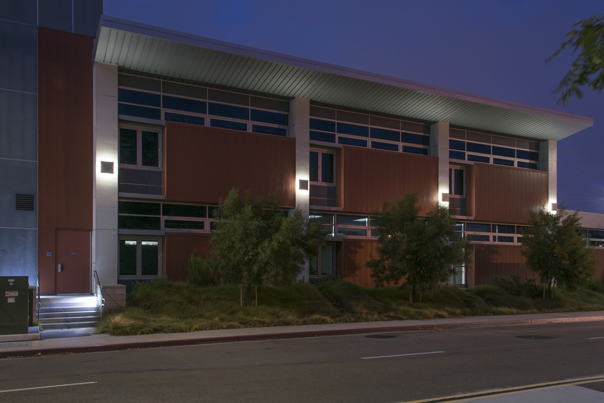 Southridge exterior lighting illuminating a campus building at night.