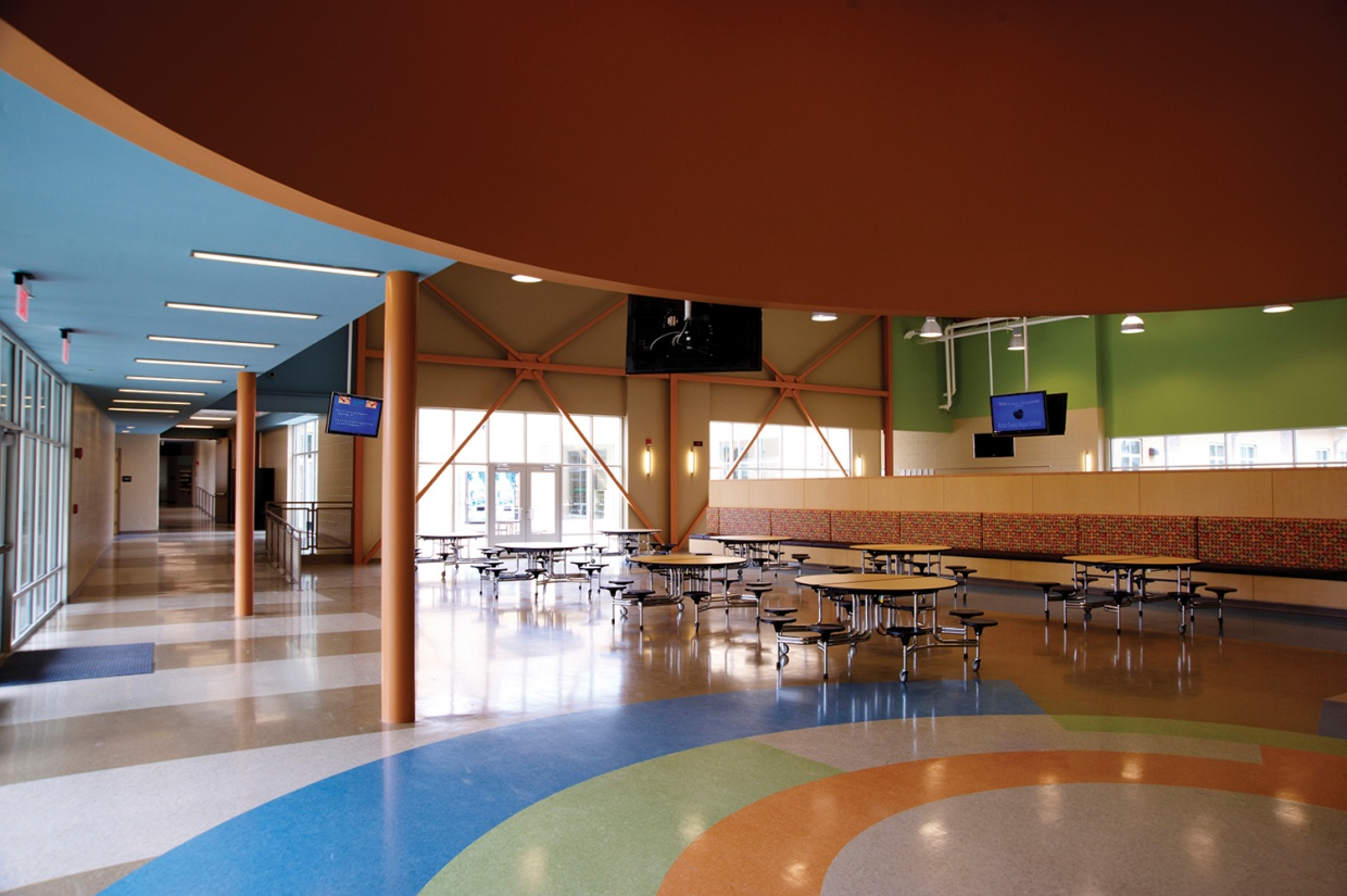 Visage is good supplementary classroom lighting, shown here in ceiling mount configuration above a school cafeteria.