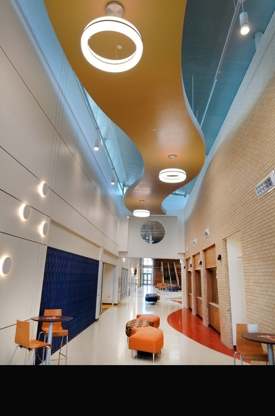 Meridian Round architectural ring pendants in a modern elementary school corridor