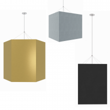 Visa Lighting's new large LED pendant lights with acoustic panels