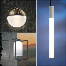 Exterior lighting led pendants in 3 unique styles.