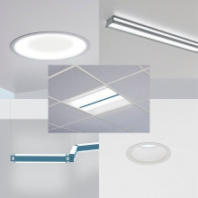 All five new disinfecting luminaires: Symmetry, Latitude, Jasper, Catena, and Cade