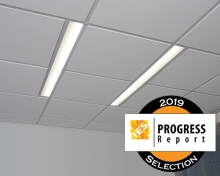 Lenga overbed light fixture for patient rooms with IES Progress Report seal
