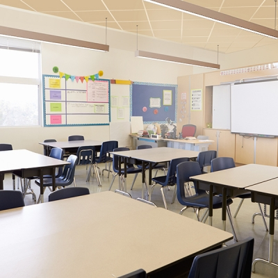 Disinfecting linear LED lighting in a classroom setting
