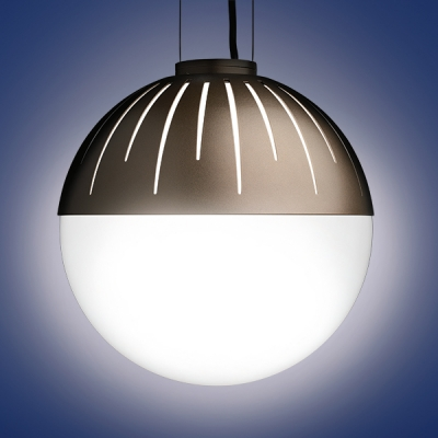 The Zume outdoor pendant lighting fixtures are offered in 2 round globe sizes and is a classic patio led light. Zume can be configured in catenary or canopy mount. This is the 20
