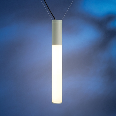 """The Sequence outdoor pendant light is offered in White LED in two lumen output levels and RGB. This fixture can be hung catenary or canopy. This is the 2' x 4""""catenary model."""