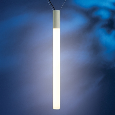 """The Sequence outdoor pendant light is offered in White LED in two lumen output levels and RGB. This fixture can be hung catenary or canopy. This is the 4' x 4"""" catenary model."""