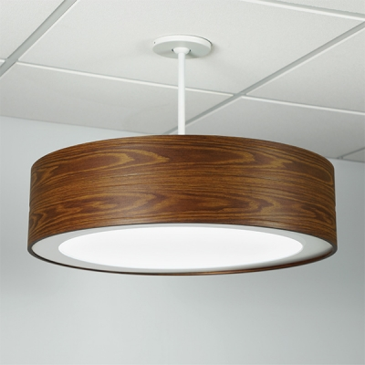 Omnience drum chandelier with a sublimated wood finish.
