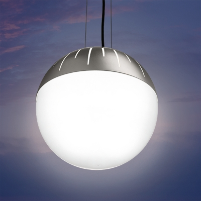 Zume outdoor pendant lighting fixtures are offered in 2 round globe sizes and is a classic patio led light. Zume can be configured in catenary or canopy mount.