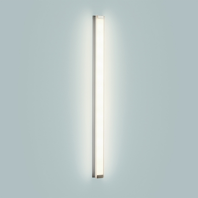 A flat linear wall sconce with a thin, luminous body
