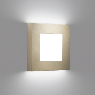 A square wall sconce with a diffuser window