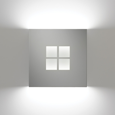 A square wall sconce with four diffuser windows in the middle