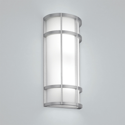 A rectangular indoor wall sconce with cross bar accents