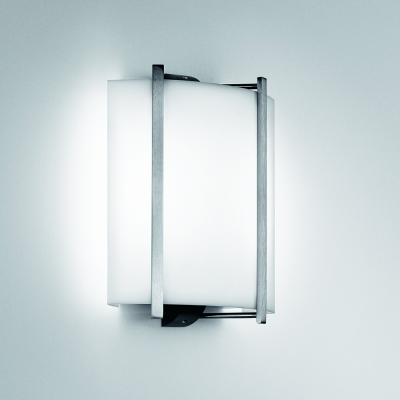 A small, square wall sconce with bar accents