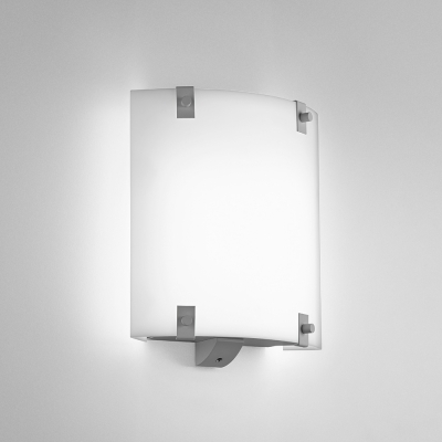 A small, square wall sconce with button accents
