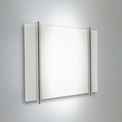 A small, square wall sconce with two bar accents