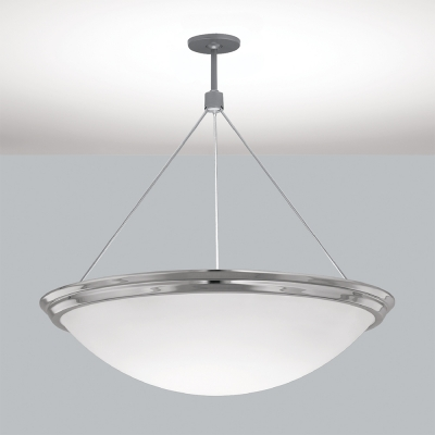 A large bowl pendant suspended with a cable