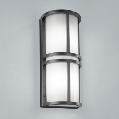 A rectangular outdoor wall sconce with center bar accents