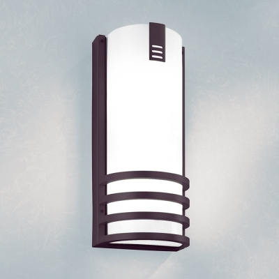 A rectangular outdoor wall sconce with a medallion accent