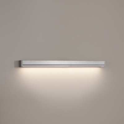 A linear indirect wall sconce with a sublimated wood finish for outdoor mounting
