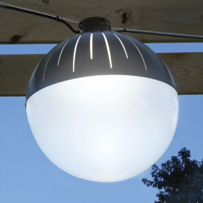 Zume outdoor globe pendant mounted in catenary configuration