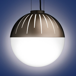 "The Zume outdoor pendant lighting fixtures are offered in 2 round globe sizes and is a classic patio led light. Zume can be configured in catenary or canopy mount. This is the 20"" pendant model."