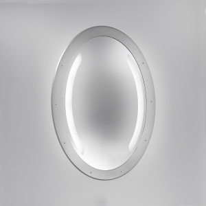 An oval mirror with integrated LED illumination