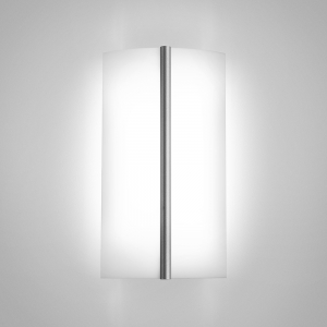 A rectangular luminous wall sconce with a metal accent bar in the center