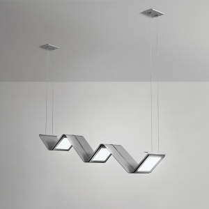 A zigzag shaped oled pendant with angled panels