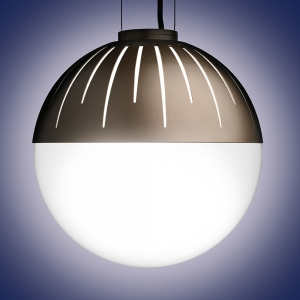 Globe-shaped outdoor pendant with a metal cap with canopy suspension