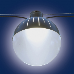 Globe-shaped outdoor pendant with a metal cap with catenary suspension