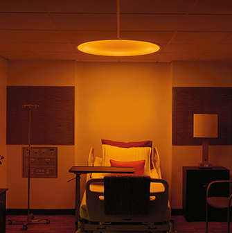 Symmetry 4ft overbed hospital light with night light