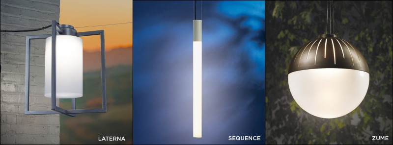 Laterna, Sequence, and Zume, three outdoor pendant lighting fixtures