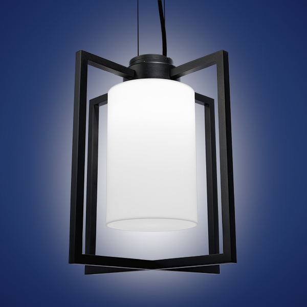 Laterna, a lantern-style outdoor pendant lighting fixture, canopy mounted with jet black finish