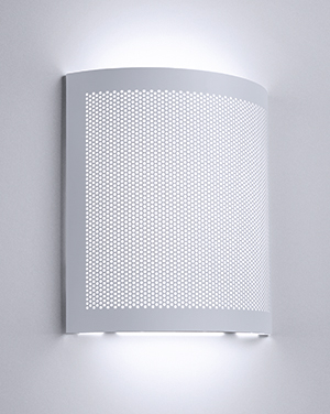 Softly diffused light permeates and surrounds the perforated metal housing of this architectural lighting fixture to enhance any modern décor.